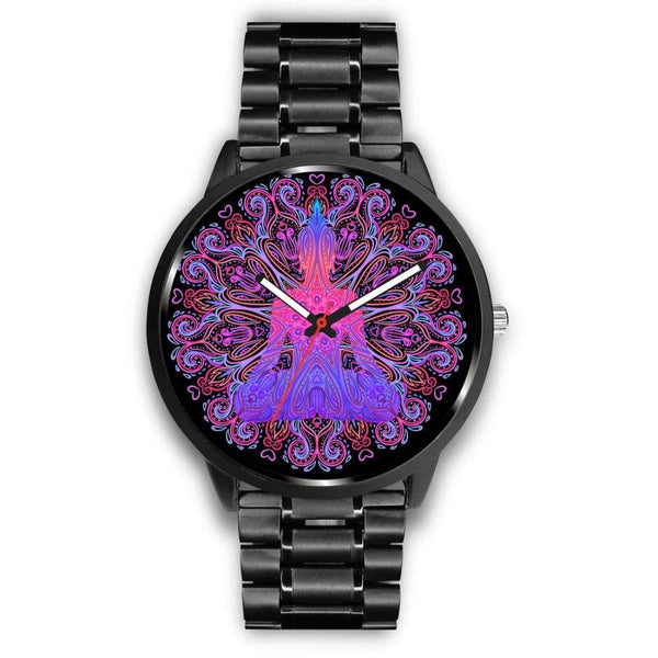 Buddhist Yoga Style Ornate Geometric Pattern Custom-Designed Wrist Watch - Mens 40Mm / Metal Link - Watch