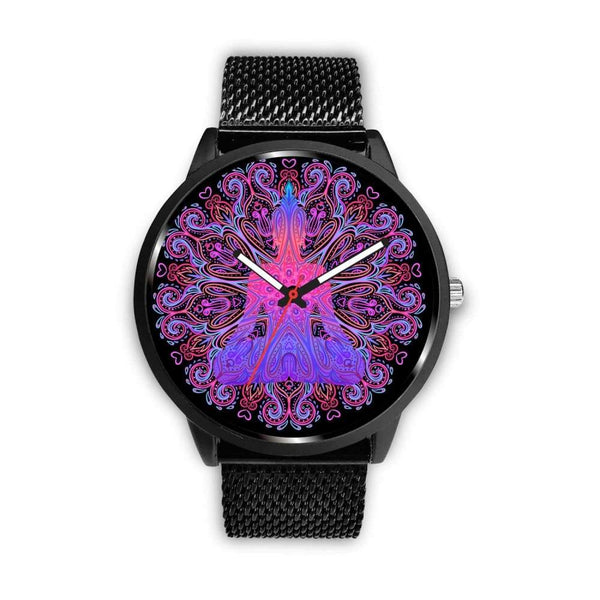 Buddhist Yoga Style Ornate Geometric Pattern Custom-Designed Wrist Watch - Mens 40Mm / Metal Mesh - Watch