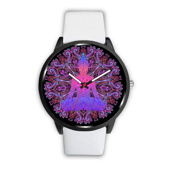 Buddhist Yoga Style Ornate Geometric Pattern Custom-Designed Wrist Watch - Mens 40Mm / White - Watch