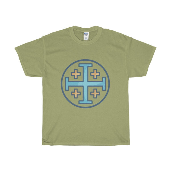 Unisex Heavy Cotton Tee, Jerusalem Cross Christian Symbol T-shirt