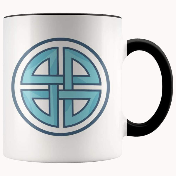 Celtic Shield Cross Wiccan Spiritual Symbol 11Oz. Ceramic White Mug - Black - Drinkware