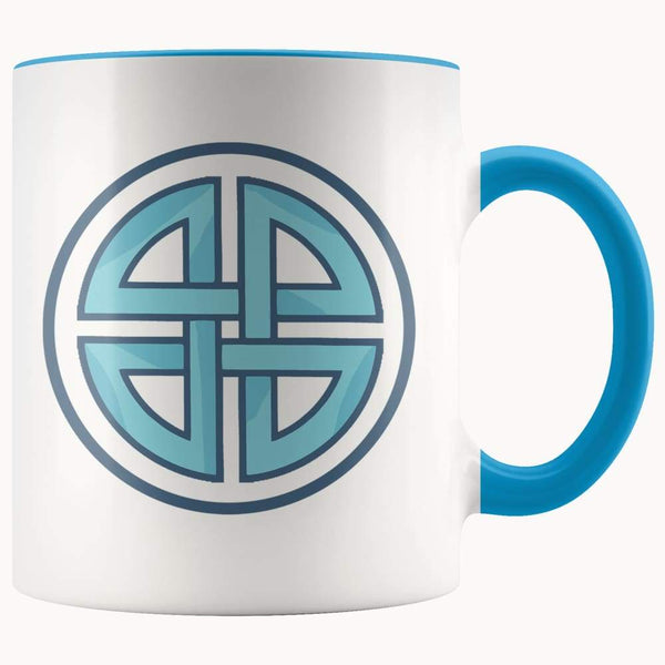 Celtic Shield Cross Wiccan Spiritual Symbol 11Oz. Ceramic White Mug - Blue - Drinkware