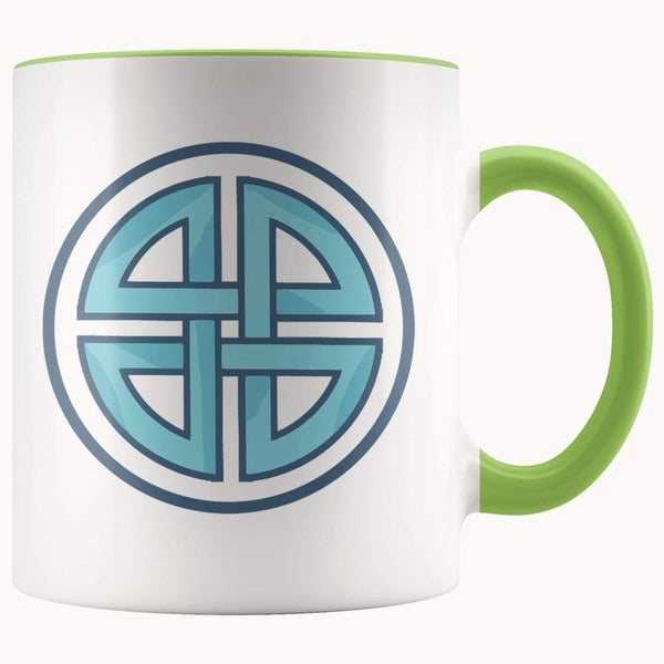 Celtic Shield Cross Wiccan Spiritual Symbol 11Oz. Ceramic White Mug - Green - Drinkware