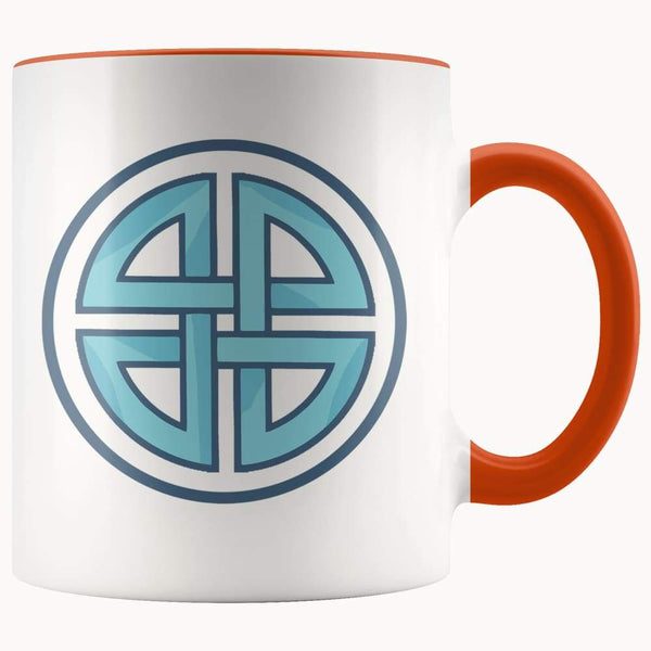 Celtic Shield Cross Wiccan Spiritual Symbol 11Oz. Ceramic White Mug - Orange - Drinkware
