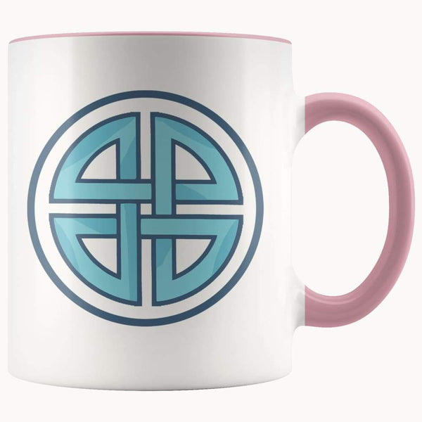 Celtic Shield Cross Wiccan Spiritual Symbol 11Oz. Ceramic White Mug - Pink - Drinkware