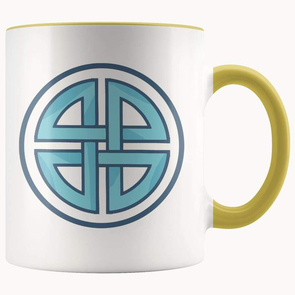 Celtic Shield Cross Wiccan Spiritual Symbol 11Oz. Ceramic White Mug - Yellow - Drinkware