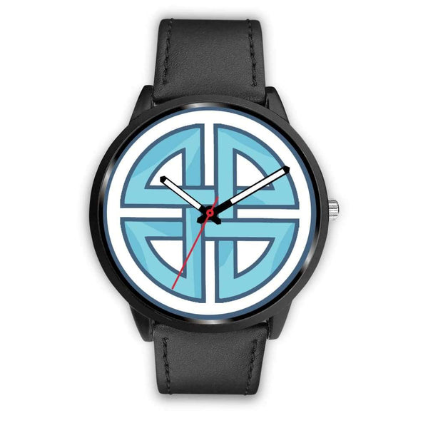 Celtic Shield Cross Wiccan Symbol Custom-Designed Wrist Watch - Mens 40Mm / Black Leather - Black Watch