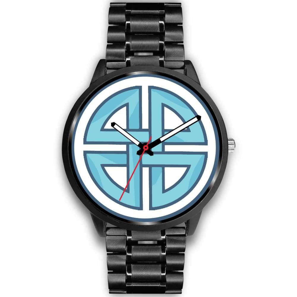 Celtic Shield Cross Wiccan Symbol Custom-Designed Wrist Watch - Mens 40Mm / Black Metal Link - Black Watch
