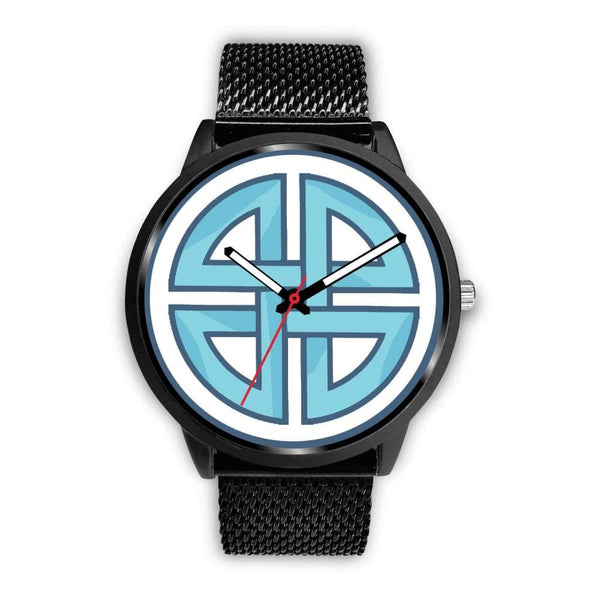 Celtic Shield Cross Wiccan Symbol Custom-Designed Wrist Watch - Mens 40Mm / Black Metal Mesh - Black Watch