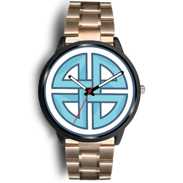 Celtic Shield Cross Wiccan Symbol Custom-Designed Wrist Watch - Mens 40Mm / Rose Gold Metal Link - Black Watch