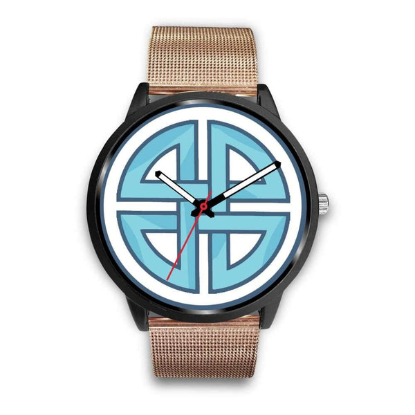 Celtic Shield Cross Wiccan Symbol Custom-Designed Wrist Watch - Mens 40Mm / Rose Gold Metal Mesh - Black Watch