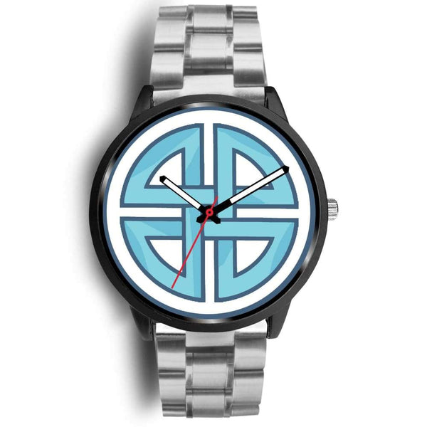 Celtic Shield Cross Wiccan Symbol Custom-Designed Wrist Watch - Mens 40Mm / Silver Metal Link - Black Watch