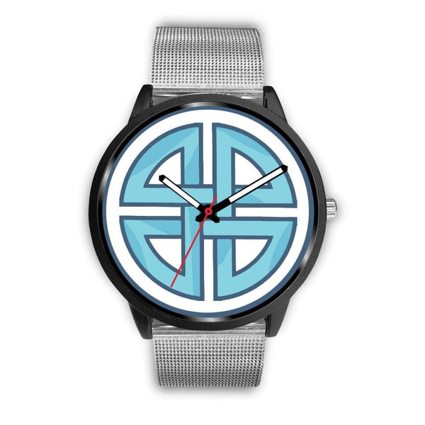 Celtic Shield Cross Wiccan Symbol Custom-Designed Wrist Watch - Mens 40Mm / Silver Metal Mesh - Black Watch