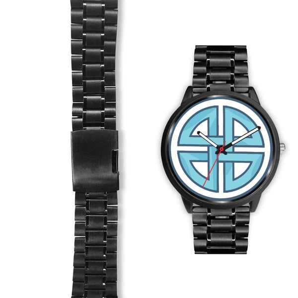 Celtic Shield Cross Wiccan Symbol Custom-Designed Wrist Watch - Black Watch