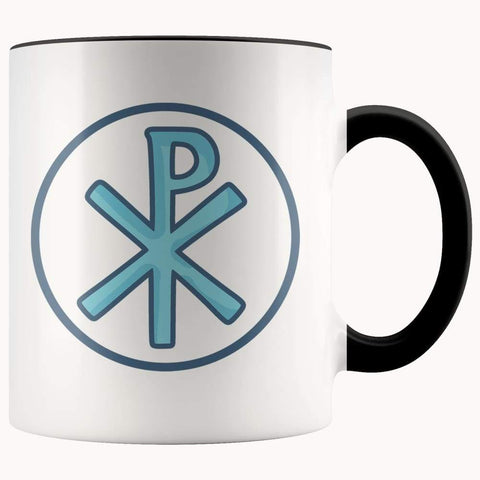Chi Rho Christogram Christian Symbol 11Oz. Ceramic White Mug - Black - Drinkware