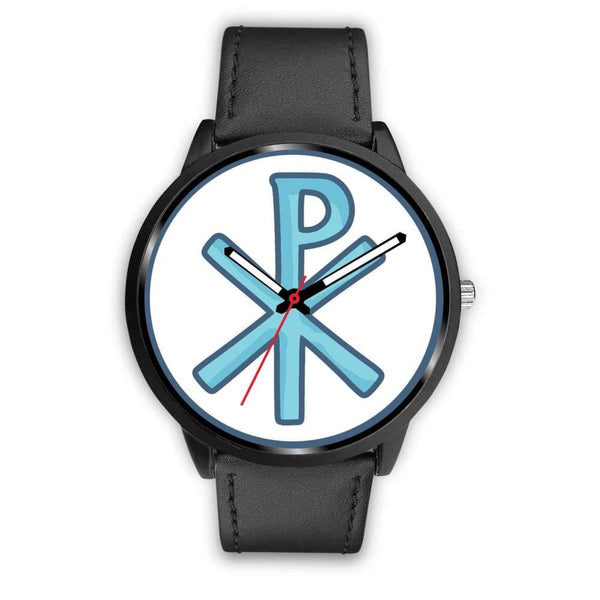 Chi Rho Christogram Christian Symbol Custom-Designed Wrist Watch - Mens 40Mm / Black Leather - Black Watch