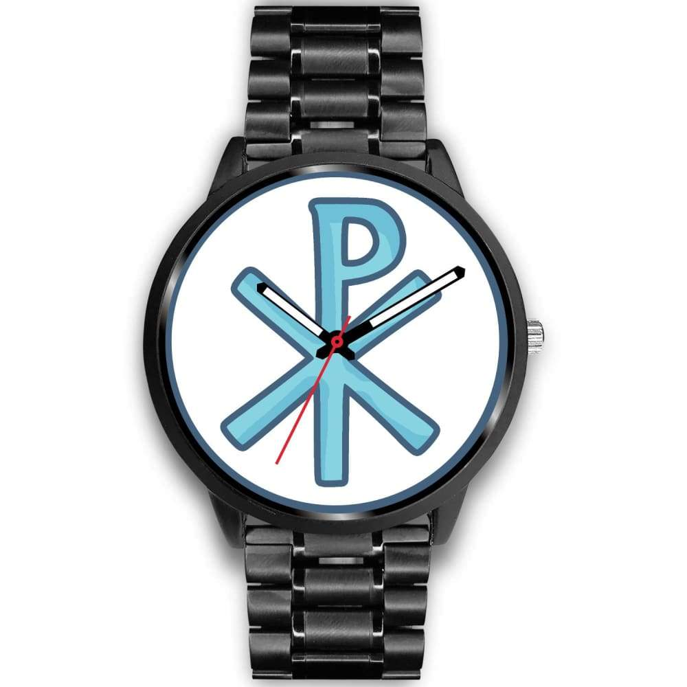 Chi Rho Christogram Christian Symbol Custom-Designed Wrist Watch - Mens 40Mm / Black Metal Link - Black Watch
