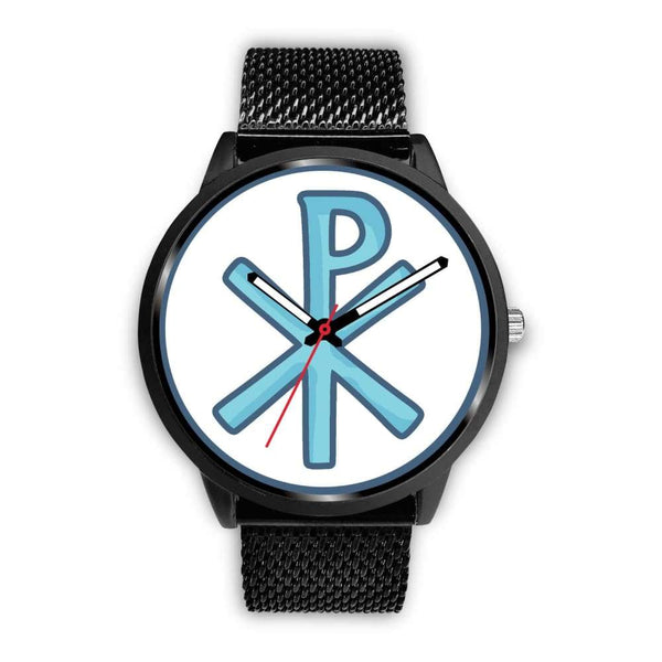 Chi Rho Christogram Christian Symbol Custom-Designed Wrist Watch - Mens 40Mm / Black Metal Mesh - Black Watch