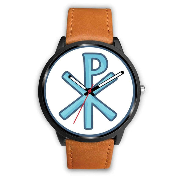 Chi Rho Christogram Christian Symbol Custom-Designed Wrist Watch - Mens 40Mm / Brown Leather - Black Watch