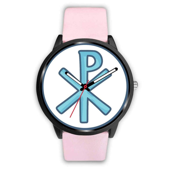 Chi Rho Christogram Christian Symbol Custom-Designed Wrist Watch - Mens 40Mm / Pink Leather - Black Watch