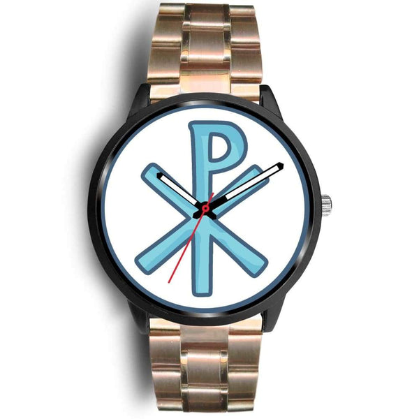 Chi Rho Christogram Christian Symbol Custom-Designed Wrist Watch - Mens 40Mm / Rose Gold Metal Link - Black Watch