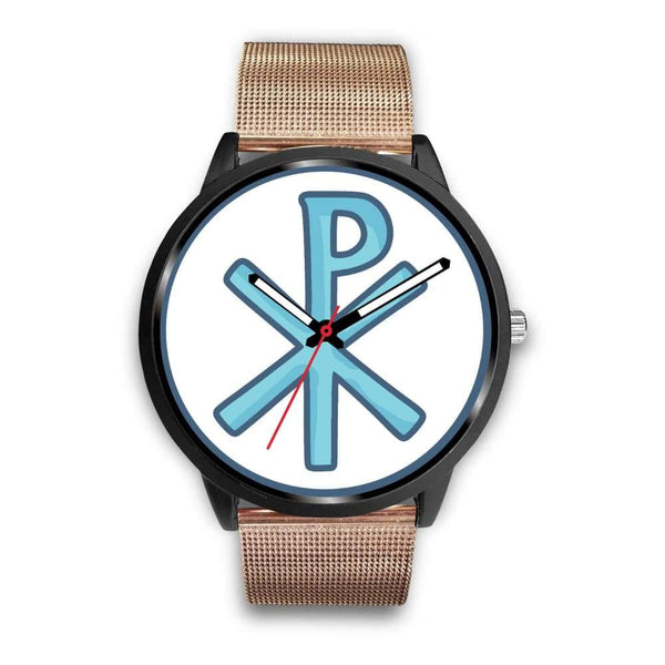 Chi Rho Christogram Christian Symbol Custom-Designed Wrist Watch - Mens 40Mm / Rose Gold Metal Mesh - Black Watch