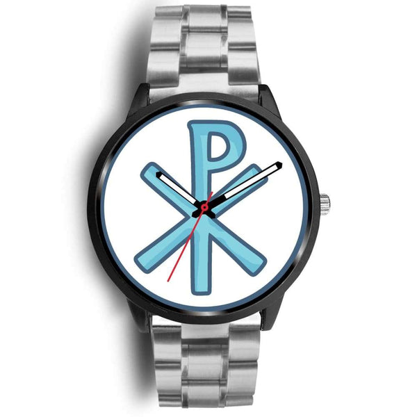 Chi Rho Christogram Christian Symbol Custom-Designed Wrist Watch - Mens 40Mm / Silver Metal Link - Black Watch