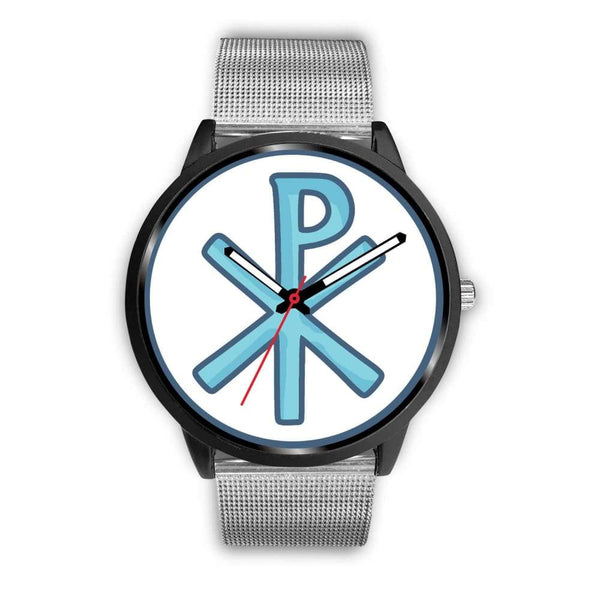 Chi Rho Christogram Christian Symbol Custom-Designed Wrist Watch - Mens 40Mm / Silver Metal Mesh - Black Watch