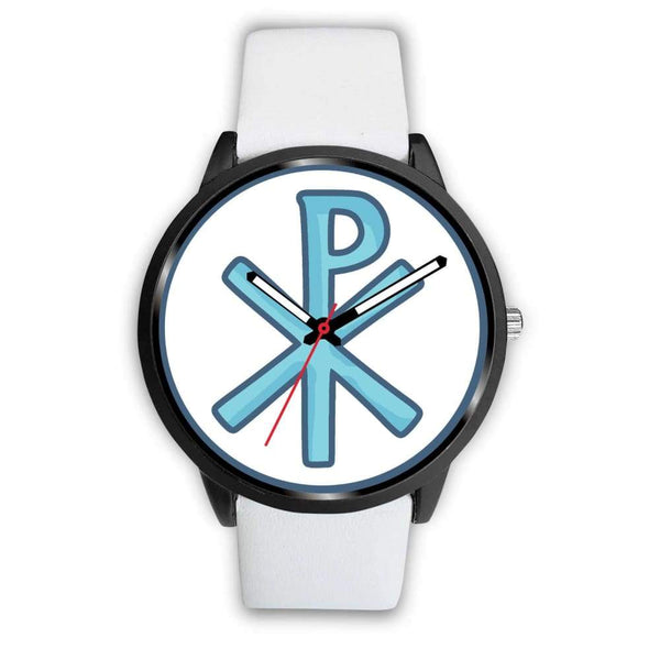 Chi Rho Christogram Christian Symbol Custom-Designed Wrist Watch - Mens 40Mm / White Leather - Black Watch