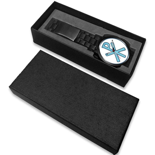 Chi Rho Christogram Christian Symbol Custom-Designed Wrist Watch - Black Watch