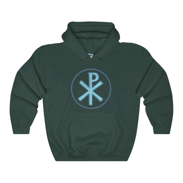 Chi Rho Christogram Christian Symbol Unisex Heavy Blend Hooded Sweatshirt - Forest Green / S - Hoodie