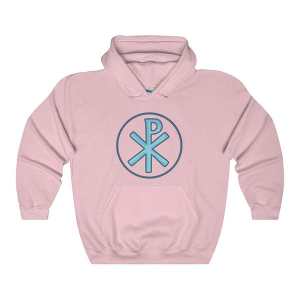 Chi Rho Christogram Christian Symbol Unisex Heavy Blend Hooded Sweatshirt - Light Pink / S - Hoodie