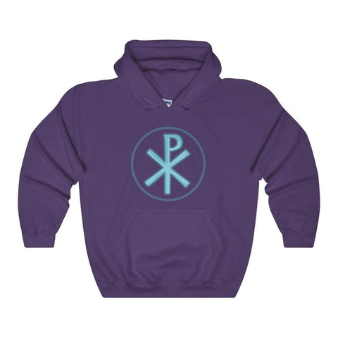 Chi Rho Christogram Christian Symbol Unisex Heavy Blend Hooded Sweatshirt - Purple / L - Hoodie