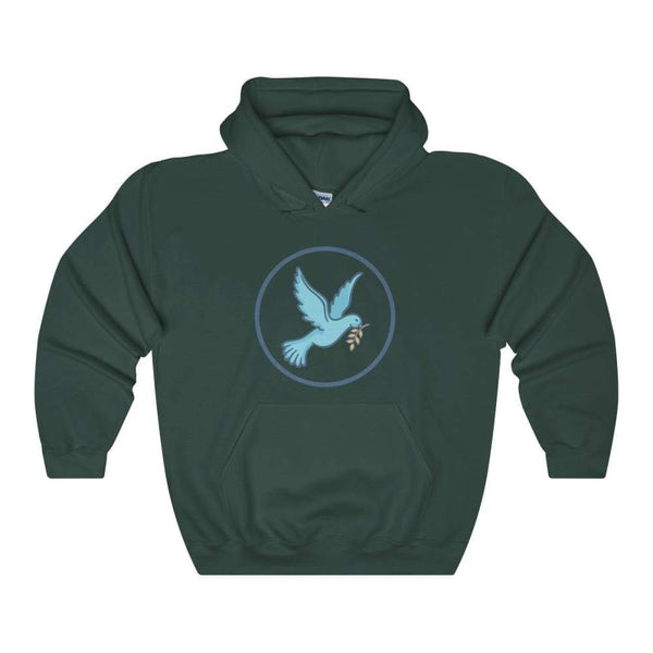 Christian Dove Peace Symbol Unisex Heavy Blend Hooded Sweatshirt - Forest Green / S - Hoodie