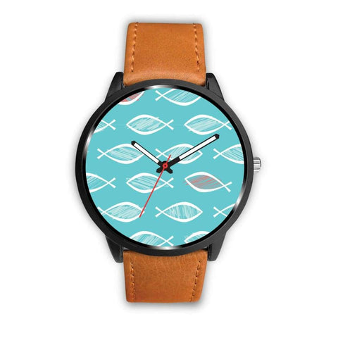 Christian Fish Ichthys Repeat Pattern Design Custom-Designed Wrist Watch - Mens 40Mm / Brown - Watch