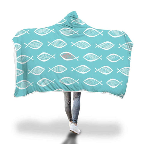 Christian Fish Ichthys Repeat Pattern Design Hooded Snuggle Meditation Blanket - Hooded Blanket