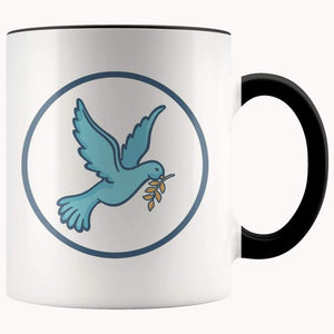 Christian Peace Dove Symbol 11Oz. Ceramic White Mug - Black - Drinkware