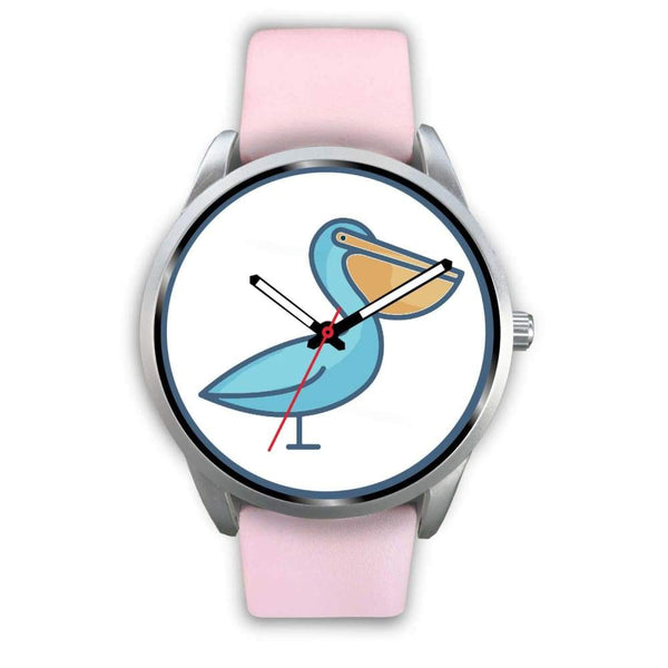 Christian Pelican Symbol Custom-Designed Wrist Watch - Mens 40Mm / Pink Leather - Silver Watch