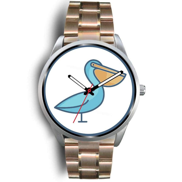 Christian Pelican Symbol Custom-Designed Wrist Watch - Mens 40Mm / Rose Gold Metal Link - Silver Watch