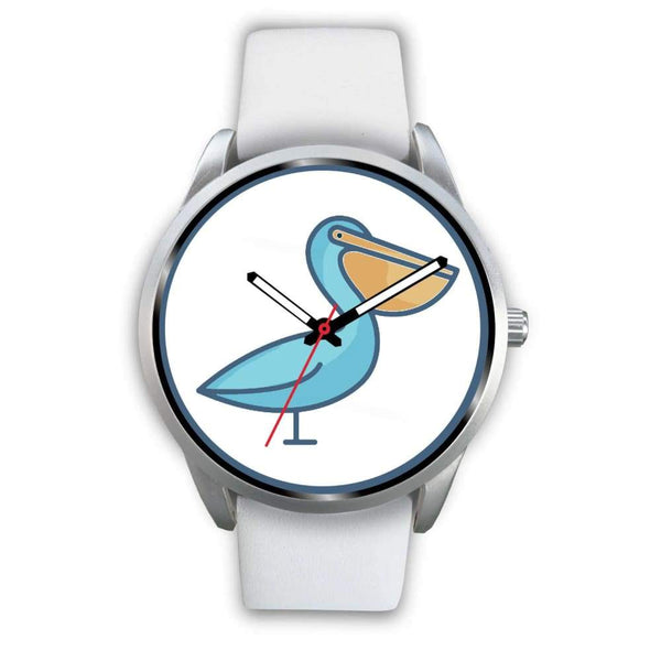 Christian Pelican Symbol Custom-Designed Wrist Watch - Mens 40Mm / White Leather - Silver Watch