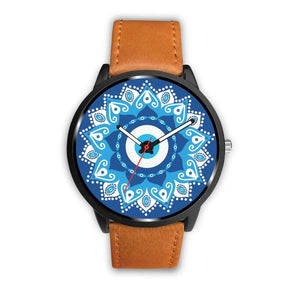 Circular Evil Eye Design. Turkish Evil Eye Geometric Pattern Custom-Designed Wrist Watch - Mens 40Mm / Brown - Watch