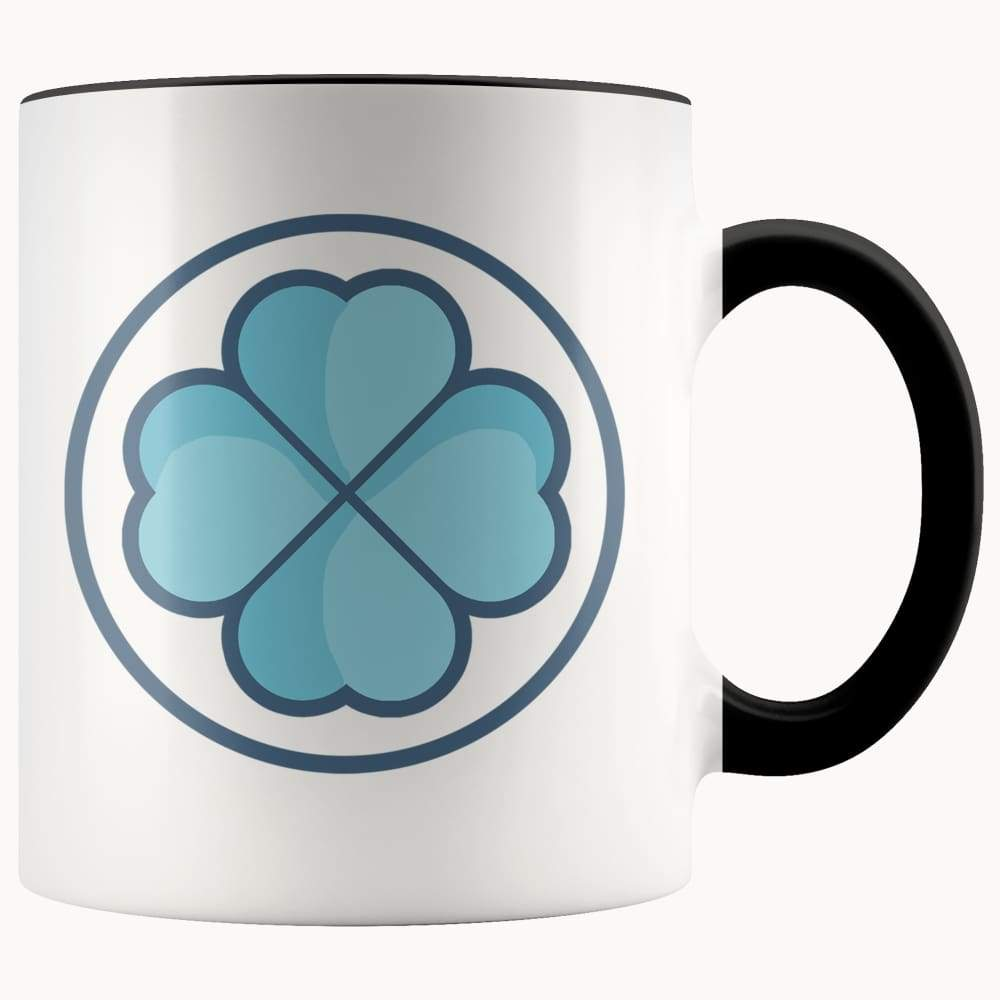 Clover Shamrock Lucky Symbol 11Oz. Ceramic White Mug - Black - Drinkware