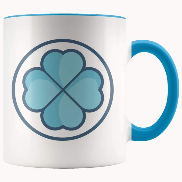 Clover Shamrock Lucky Symbol 11Oz. Ceramic White Mug - Blue - Drinkware