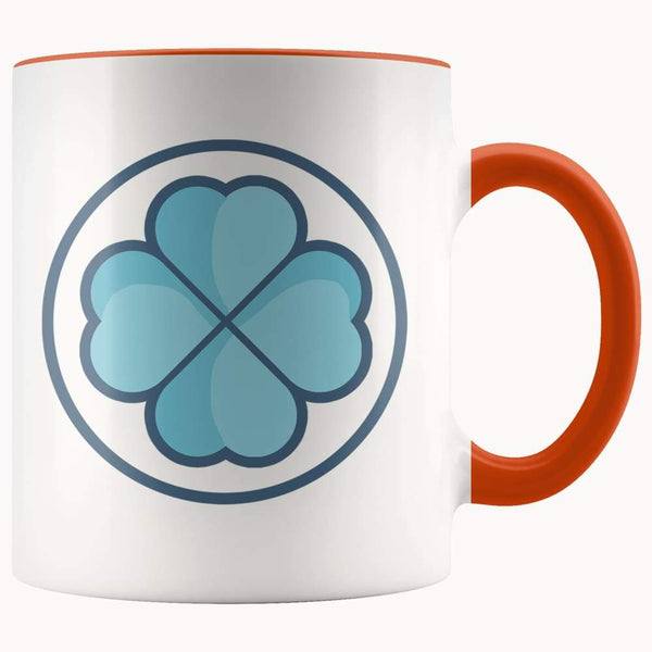 Clover Shamrock Lucky Symbol 11Oz. Ceramic White Mug - Orange - Drinkware