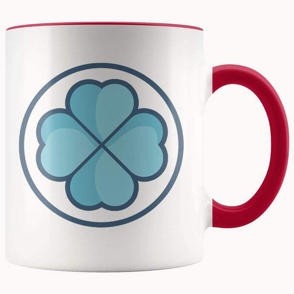 Clover Shamrock Lucky Symbol 11Oz. Ceramic White Mug - Red - Drinkware