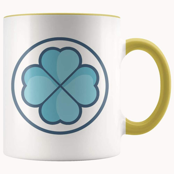 Clover Shamrock Lucky Symbol 11Oz. Ceramic White Mug - Yellow - Drinkware