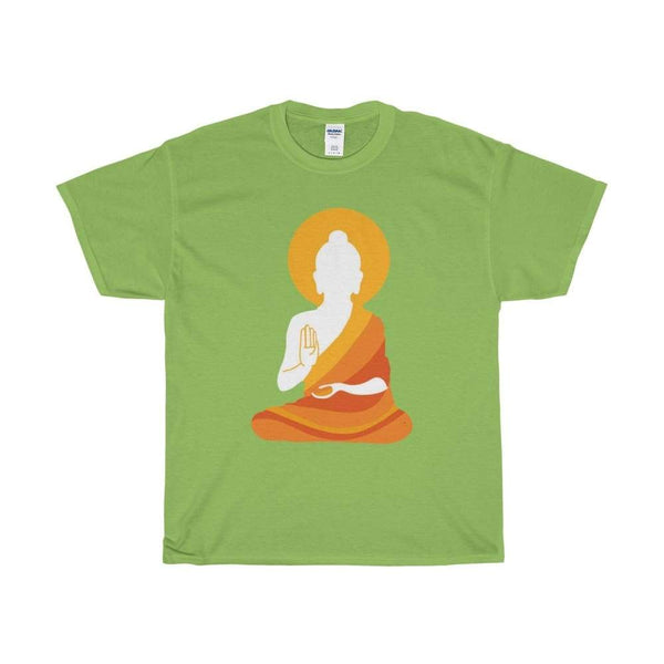 Colorful Buddha Silhouette With Aura Design T-Shirt. Buddhism Tee Shirt - Lime / S - T-Shirt