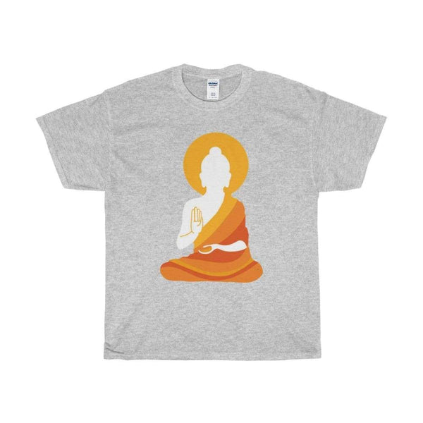 Colorful Buddha Silhouette With Aura Design T-Shirt. Buddhism Tee Shirt - Sport Grey / S - T-Shirt