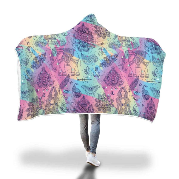 Colorful Buddhist Pattern Hooded Snuggle Meditation Blanket With Om Spiritual Design - Hooded Blanket