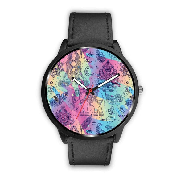 Colorful Yoga Buddhist Style Pattern. Om Spiritual Meditation Design Custom-Designed Wrist Watch - Mens 40Mm / Black - Watch